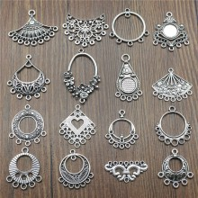 Charms Charms-Earring-Connector Jewelry-Making Silver-Color Antique for 10pcs