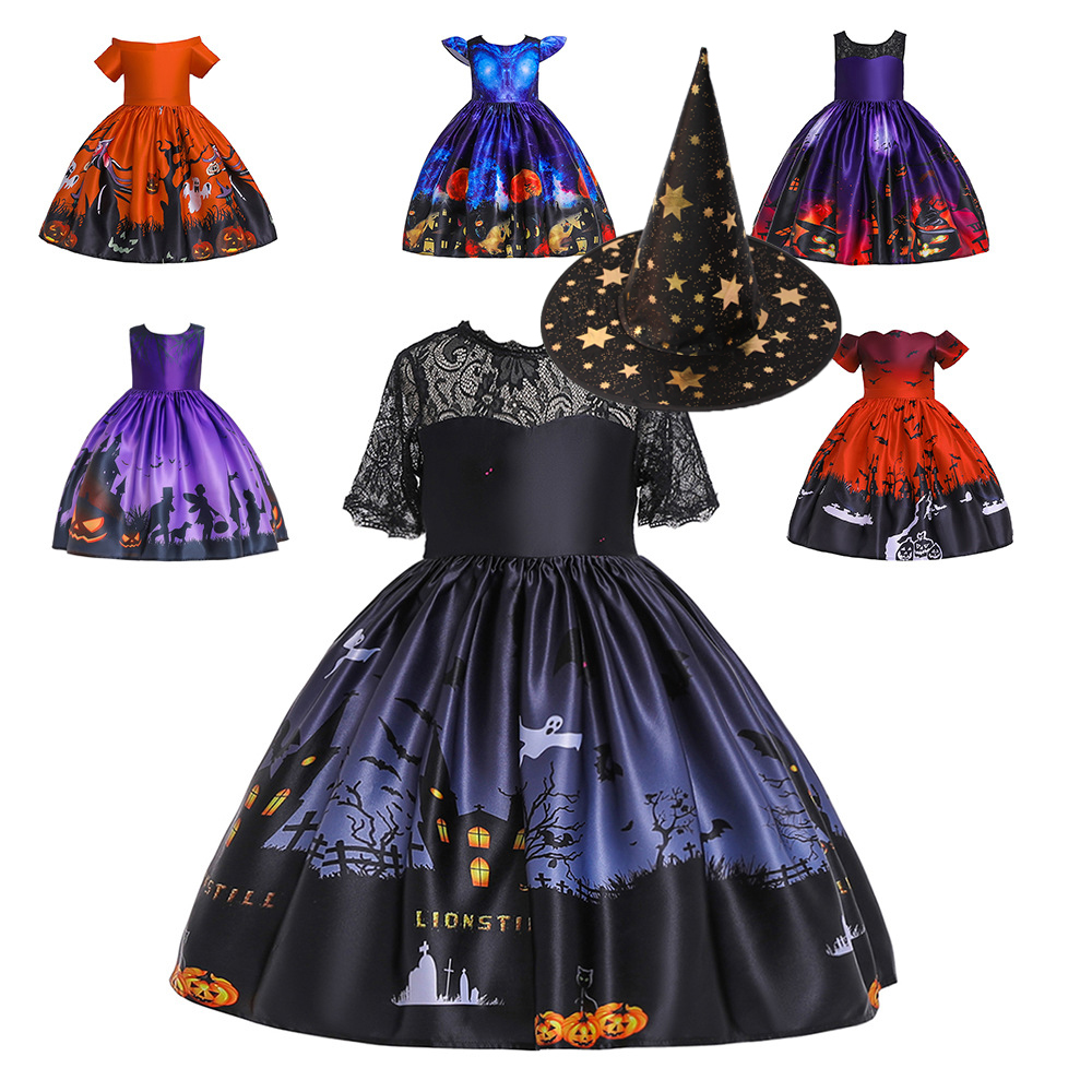 Girls Dresses For Kids 2019 Halloween Cosplay Party Dress Clothes Teens Princess Dress Hat Children Christmas Carnival Dresses (1) - 副本