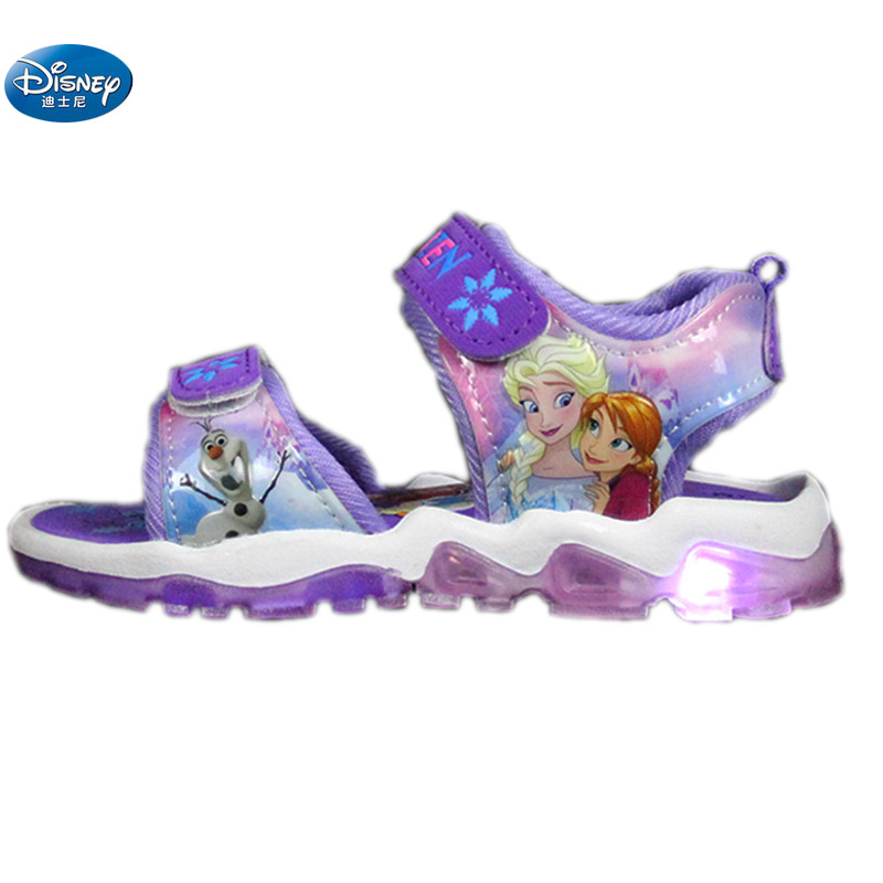 Disney Frozen Girls Sandals With LED Light 2108 Elsa And Anna Princess Kids Shoes Europe Size 20-31