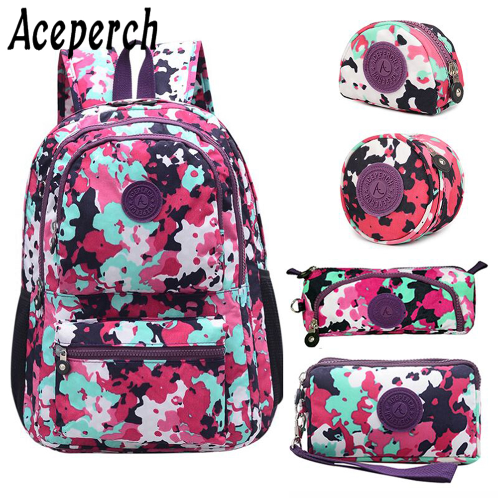 Aceperch Women Kiple Mochila Escolar Feminina Backpack School Bag For Teenager Girl Pack Nylon Waterproof Backpacks Female Sac