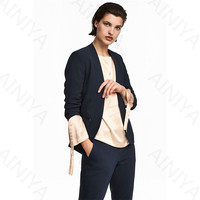 Navy Pant Suits Women Casual Office Business Suits Formal Work Wear 2 Piece Sets Uniform Styles