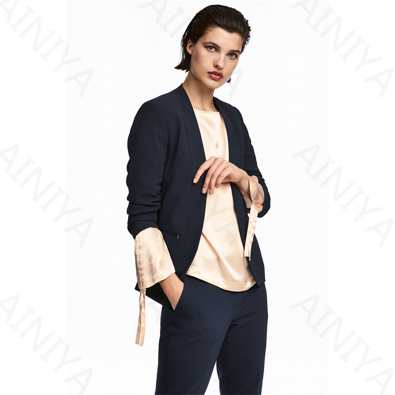 Navy Pant Suits Women Casual Office Business Suits Formal Work Wear 2 Piece Sets Uniform Styles Elegant Pant Suits Custom Made