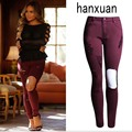 2016 Fashion Women Ripped Skinny Pencil Pants Stretch Wine red Beggar Pants Vintage Female Leggings Sexy Knee Holes Trousers