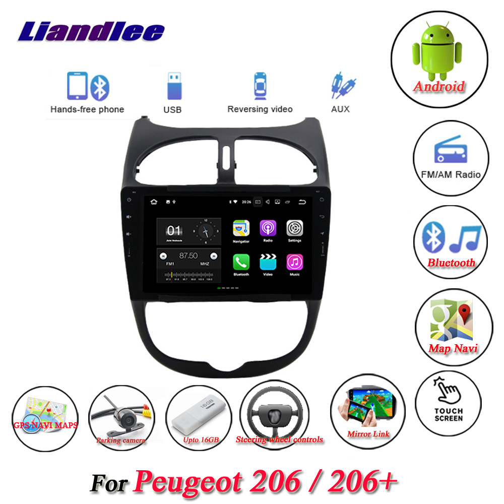 Liandlee Car Android System For Peugeot 206 / 206+ 2009~2013 Radio Viedo GPS Navi MAP Navigation Screen Multimedia NO DVD Player liandlee car android system for chevrolet malibu xl 2016 2018 radio viedo bt gps navi map navigation screen multimedia no cd dvd
