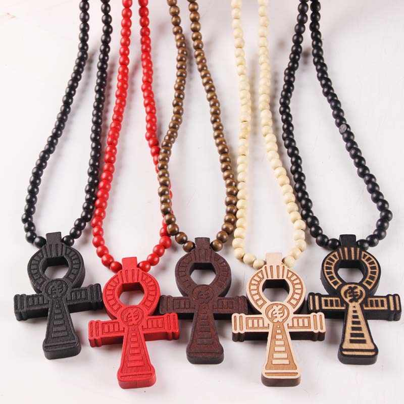 ANKH Egyptian Power of Life Good Wood Hip Hop Necklace Wholesale 5 Colors Mixed Jasw109