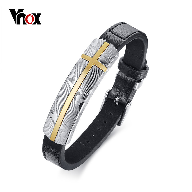 Vnox Top Quality Damascus Steel Genuine Leather Bracelet for Men Adjustable Bangle Textured Stainless Steel Gentlemen Jewelry