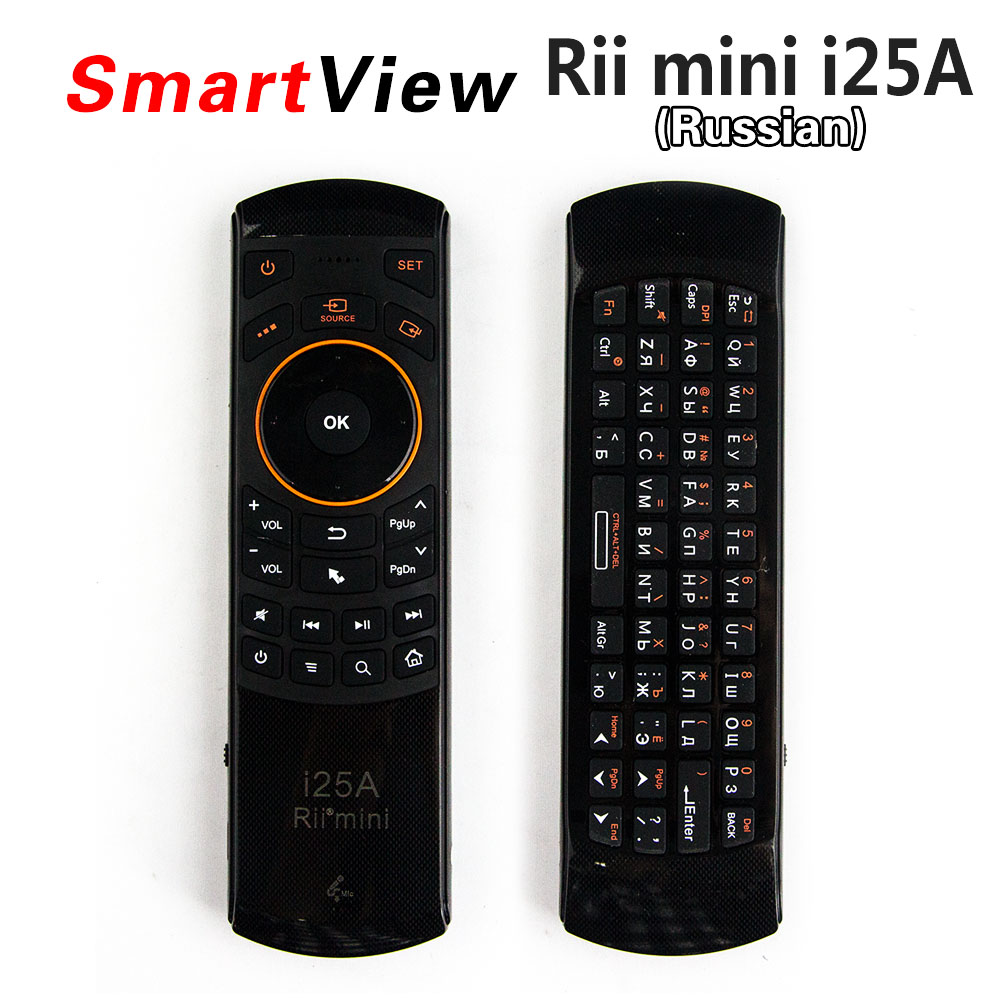 все цены на [Genuine] Rii i25A 2.4Ghz Mini Wireless Russian Fly Air mouse Keyboard with Earphone Jack for PC HTPC IPTV Smart Android TV Box онлайн
