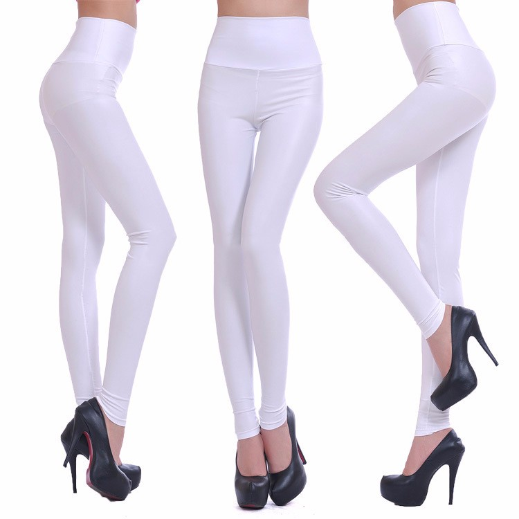 2017 New Women Sexy Leggings Faux Leather Stretch Legging High Waist Leggings Juniors Pants 4 size 21 Colors 3