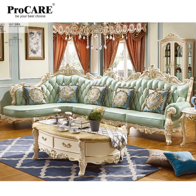 Luxury European And American Style Living Room Furniture Quality Italia Leather Sofa Set Elegant Green
