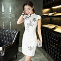 Female Silk Velvet Cheongsam Top Chinese Classic Sexy Mini Qipao Prom Dress for Evening Cocktail Party Size S M L XL XXL