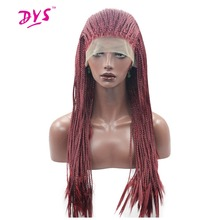 """Deyngs 18-28""""Long Braid Straight Lace Front Wigs For Black Women Red Color Hair Natural Synthetic Hair Wig Heat Resistant Fiber"""