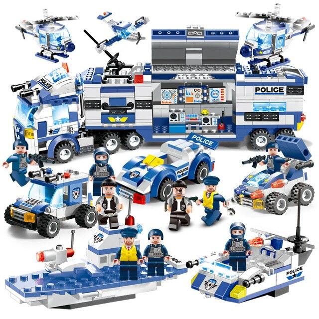 8 в 1 спецназ городской полицейский участок строительные блоки фигурки полицейских оружие кубики для игры «ганблокс» Собранный полицейский грузовик игрушки для детей