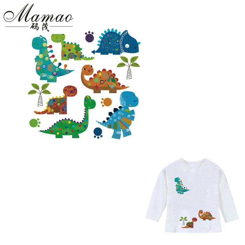 MAMAO Cartoon Dinosaur Patches Iron On Transfers Animal Patch Heat Press Stickers Print for Childrens Christmas Gift 22x21.7cm