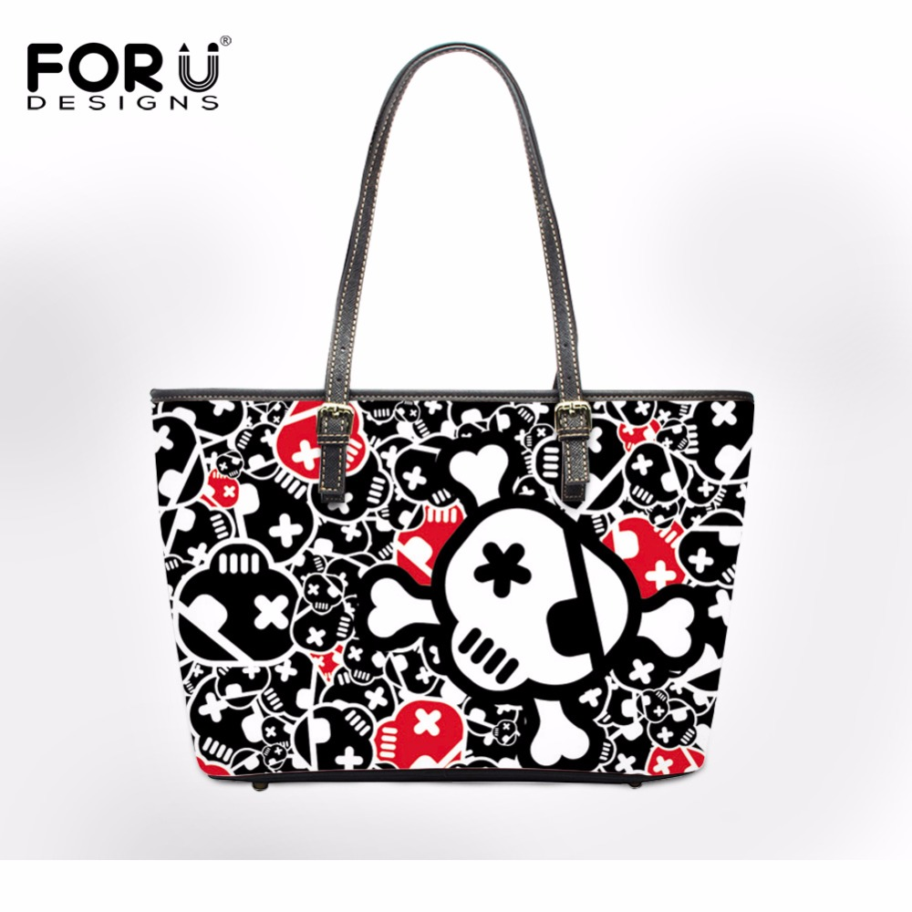 FORUDESIGNS Punk Skull Large PU Leather Tote Bag For Women Handbag Ladies Casual Shoulder Bags Cross-body Bag Female Bolsas 2017 chinese women handbag embroidery ethnic summer handmade flowers ladies tote shoulder bags cross body bag