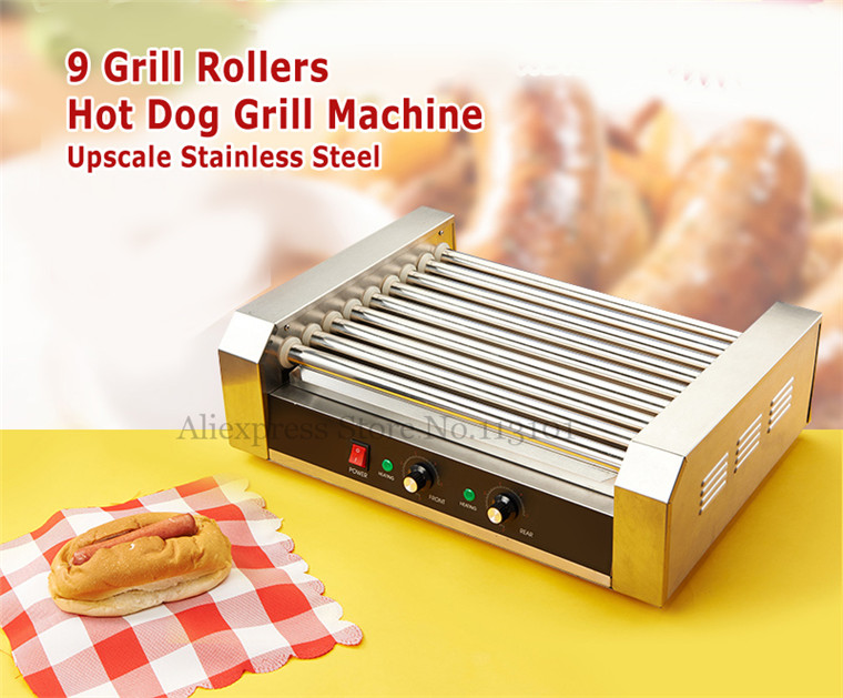 Hot Dogs Grill(9-roller) Electric Hot Dog Maker, Commercial Hot-dog Sausage Grill Roasting Machine electric hot dog grill commercial hotdog maker warmer cooker grilling machine without cover 5 roller