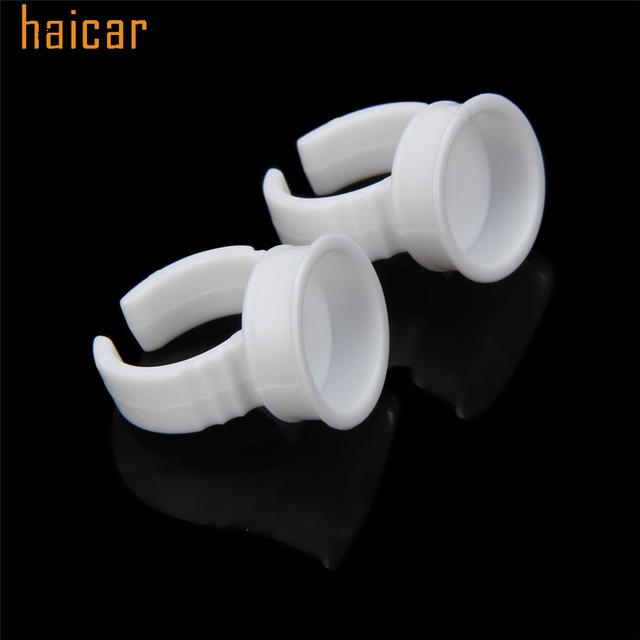 HAICAR Love Beauty Female  50pcs Microblading Pigment Glue Rings Tattoo Ink Holder For Half Permanent 161027 Drop Shipping 4