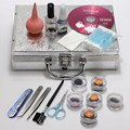 Pro 1 conjunto de cílios falsos individuais falsificados Eye Lashes extensão de ferramentas de maquiagem Glue Tweezer Brushes Set caso Kit para não incluir CD