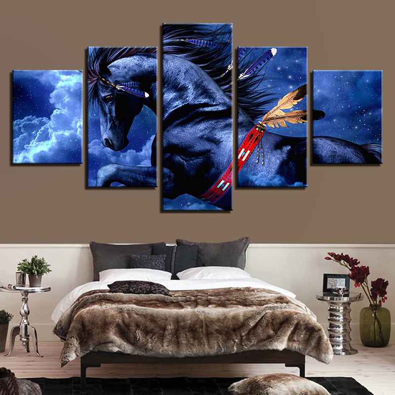 White Clouds Pegasus Animal Print Art Canvas Painting Prints Bedroom Home Decoration Modern Wall Art Painting Posters Pictures in Painting Calligraphy from Home Garden
