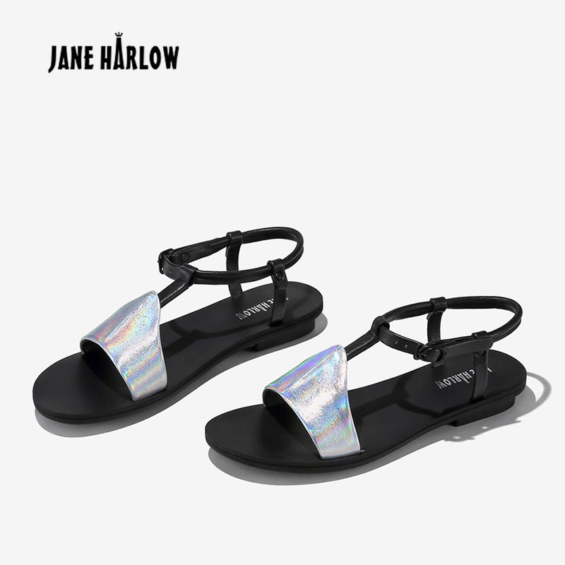 JANE HARLOW women shoes summer new 2019 Genuine Leather flat sandals Concise Beach Casual Fashion Shoes feminine summer sandalsJANE HARLOW women shoes summer new 2019 Genuine Leather flat sandals Concise Beach Casual Fashion Shoes feminine summer sandals