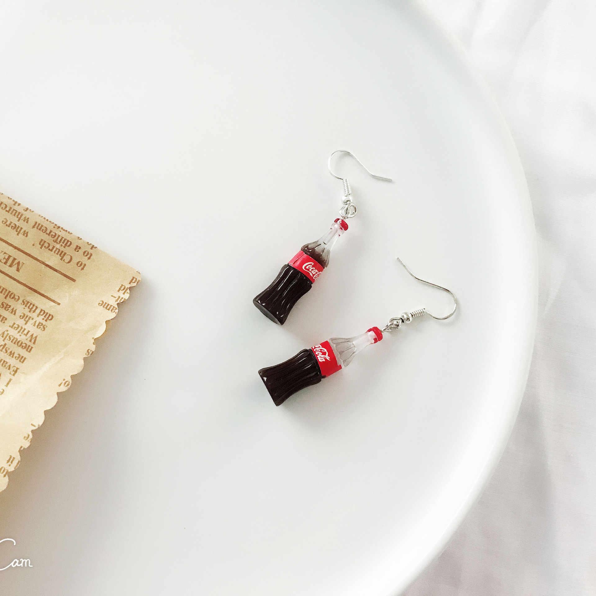 מים מינרליים בקבוק מצחיק עגילים לנשים יצירתי בירה בקבוק חמוד אדום עגילי תכשיטים זרוק קיץ עגילי נקבה