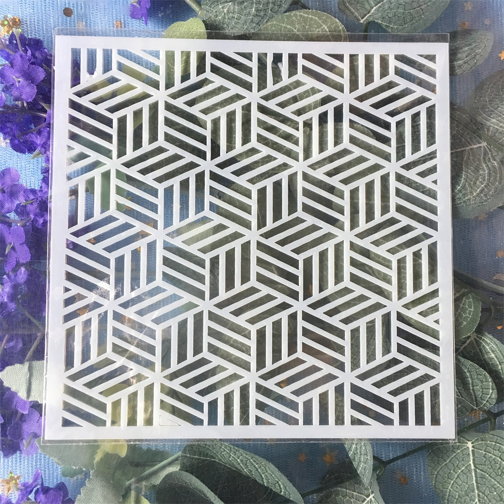 New 13cm Geometry Cubic DIY Craft Layering Stencils Wall Painting Scrapbooking Stamping Embossing Album Card Template