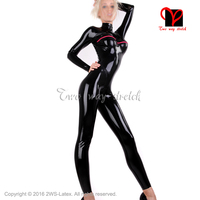 Black Latex Catsuit With Vertical Breast And Cuffs Zipper Rubber Body Suit Unitard Zentai Overall Plus