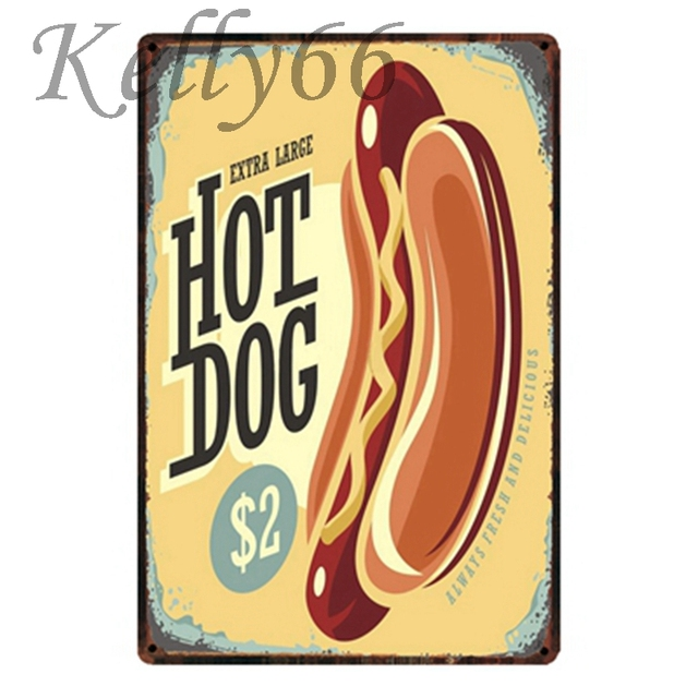 Kelly66 ] EXTRA LARGE HOT DOGS Metal Sign Tin Poster Home Decor Bar ...