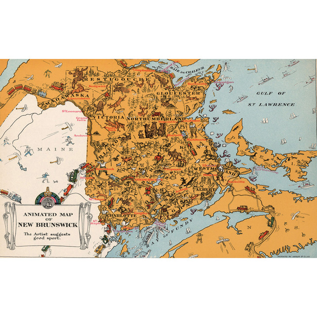Exclusive Sales Canada New Brunswick Map Canvas Paintings Wall Art