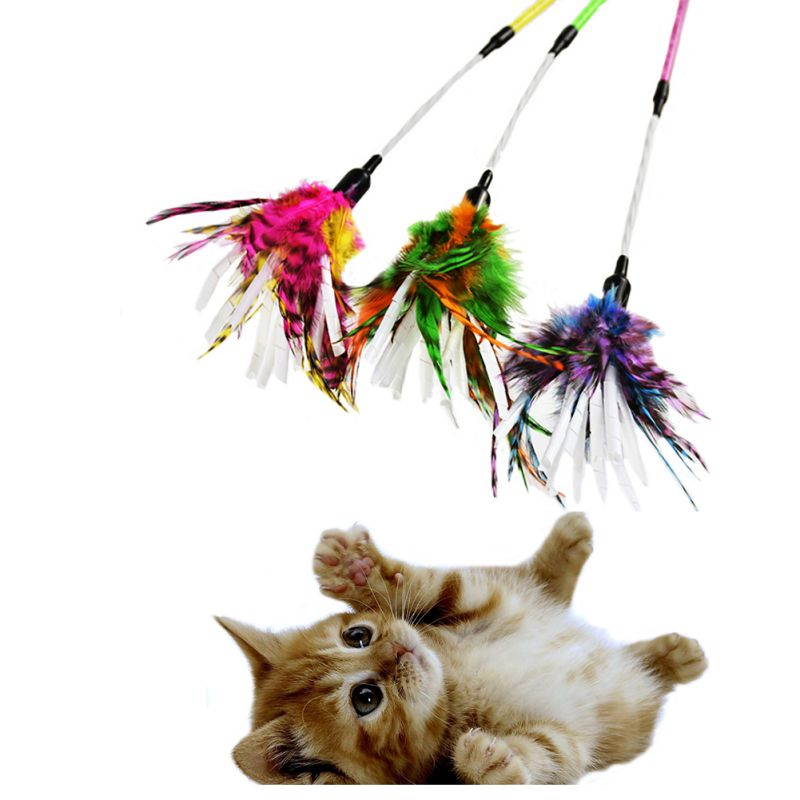 Pet Cat Toys Paper Spiral Colorful Feather Stick Cat Funny Toy Teaser Sticks Tease6613
