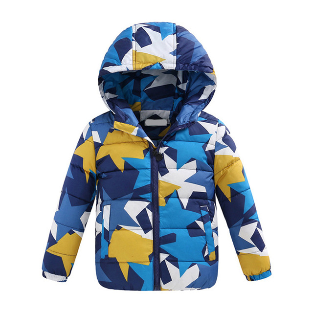 New Brand Geometric Winter Down Coat Male Child Short Design Thickening Children's Clothing Baby Kids Down Vest Jacket Parkas
