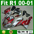 Fortuna  Fairings fit for YAMAHA YZF R1 2000 2001 year model red silver body kit YZFR1 00 01 bodywork fairing kit parts Y4H6