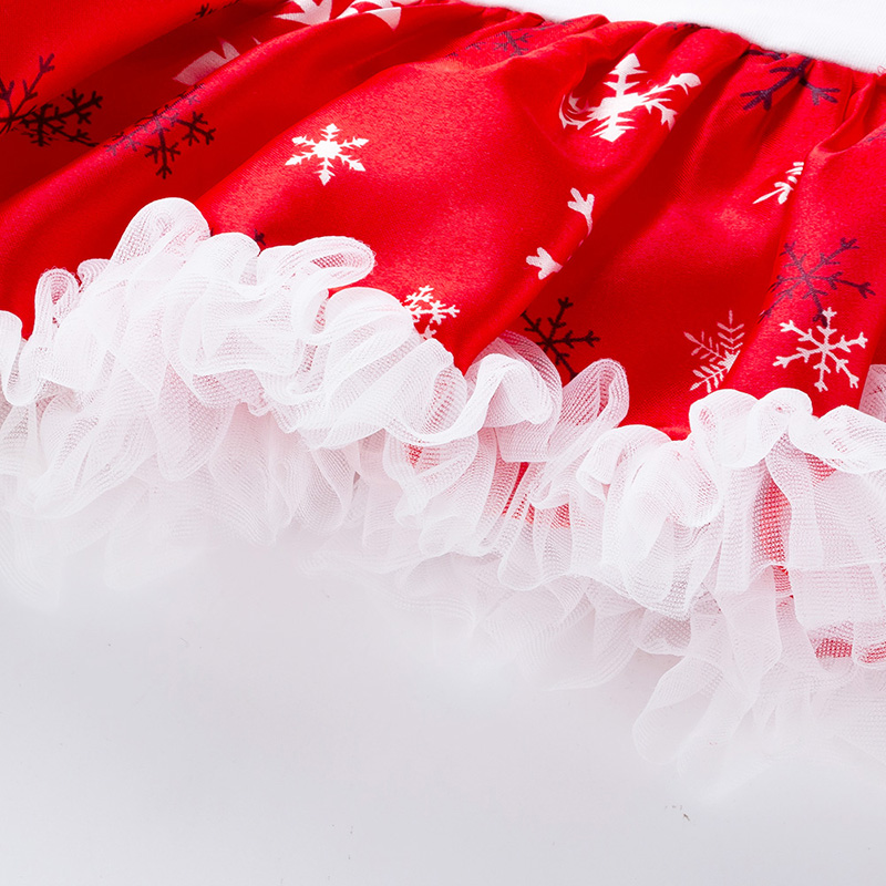 Baby Girls Christmas Lace Princess Dress Newborn Long Sleeve Romper Dresses with Headband Infant Cute Jumpsuit