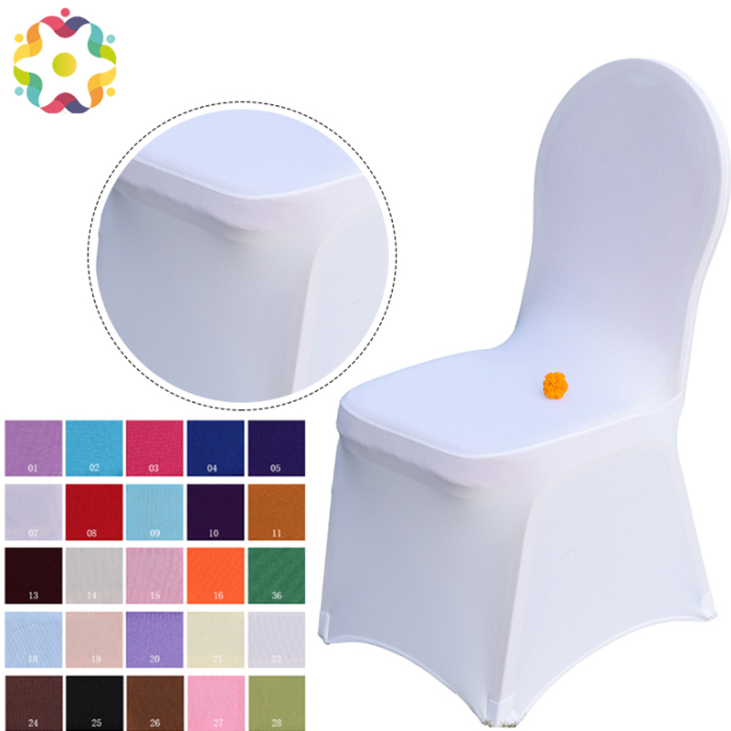 Good White Stretch Universal Polyester Spandex Chaircover Cheap Wedding Chair Covers for Weddings Banquet Restaurant Seat