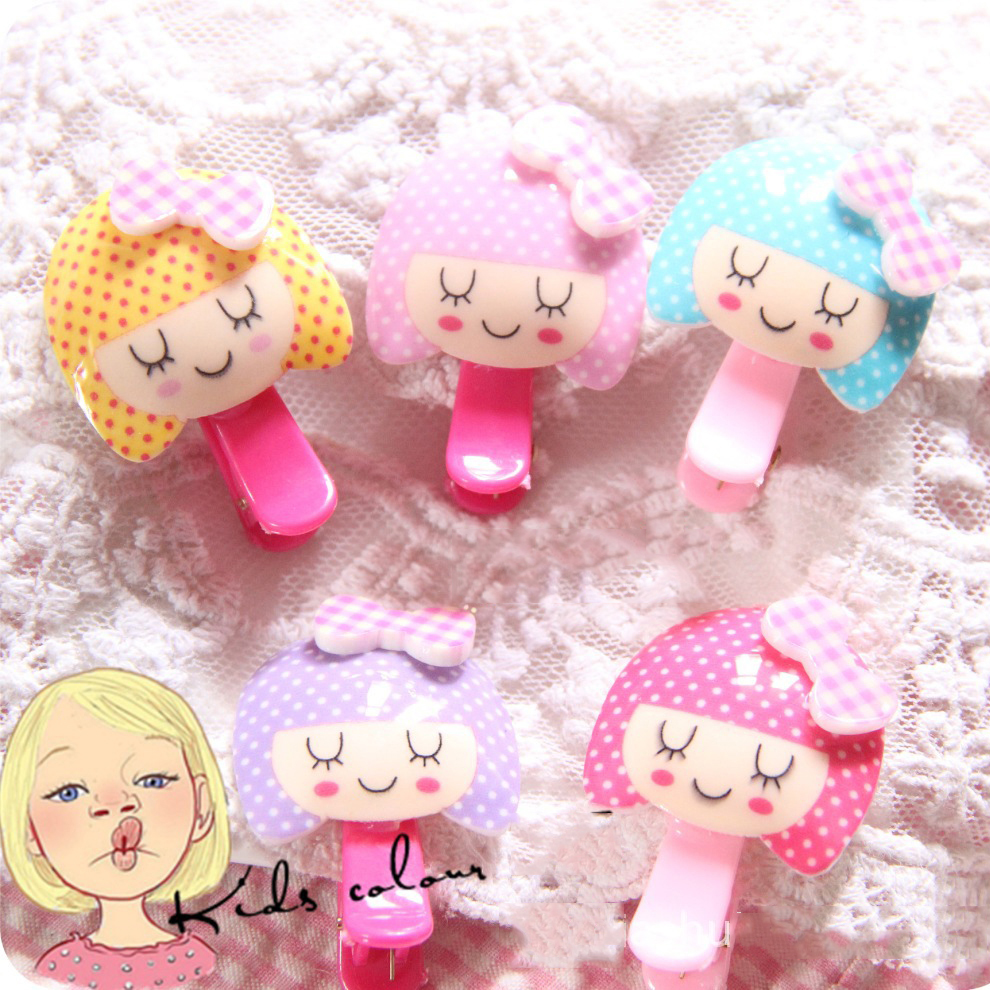 2017 New Colorful Resin Baby Hairpins Cute Cartoon Girls Hair Accessories Children Hair Clips Kids Headwear Princess Barrette 2 pcs 2017 new korean striped bowknot cute baby clip girls hairpins cartoon kitten hair clips kids children accessories
