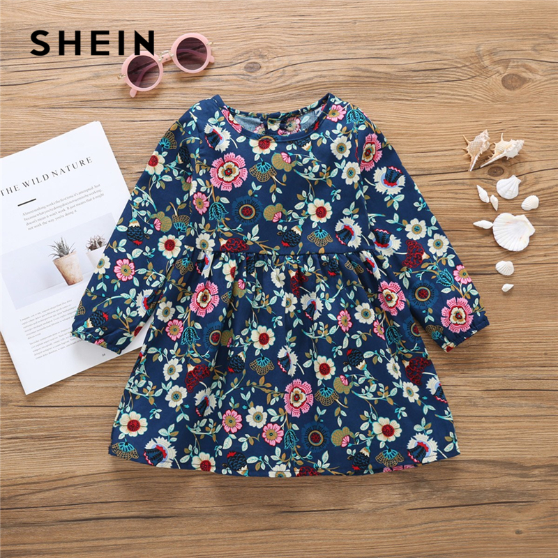 SHEIN Kiddie Toddler Girls Floral Print Cute Dress Children Clothing 2019 Spring Long Sleeve Casual A Line Flared Kids Dresses paper crane print drop waist mini dress