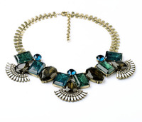 Fashion Women Jewelry 2014 Resin Glass Zinc Alloy Green Glass Necklaces Pendants Stone