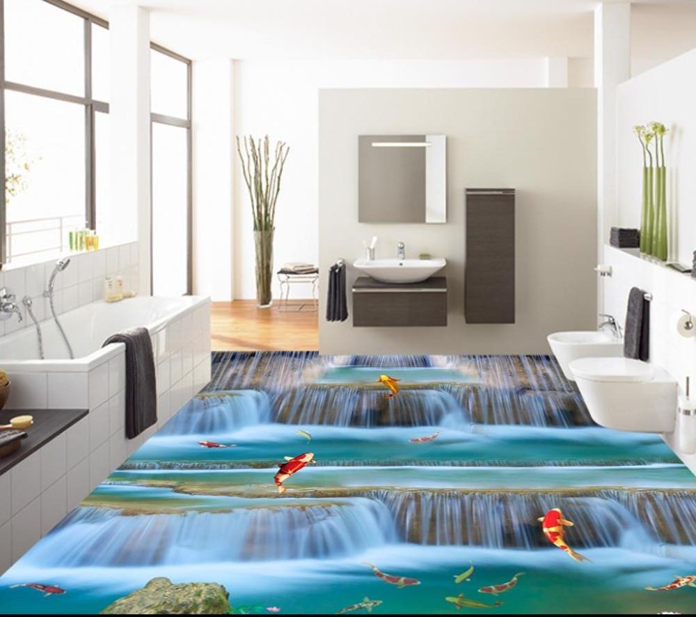 3d floor stickers custom Modern vinyl flooring bathroom ...