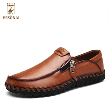 VESONAL 2017 Brand Handcraft Casual Footwear Men Shoes Adult Male Loafers Leather Autumn Driver Walking Zipper Ons Breathable