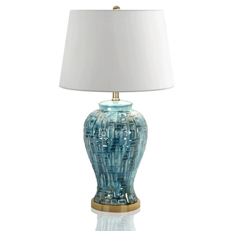 Пост-современный американский кантри Винтаж синий Керамика текстиль E27 Настольная лампа для Гостиная Спальня исследование h 65 см AC 80-265 В 1632