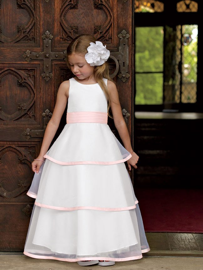 2 10 Cute Scoop A Line Satin Hem Long Kids Clothes Vestidos Organza Layered Ankle Length Flower Dress In Dresses From Weddings