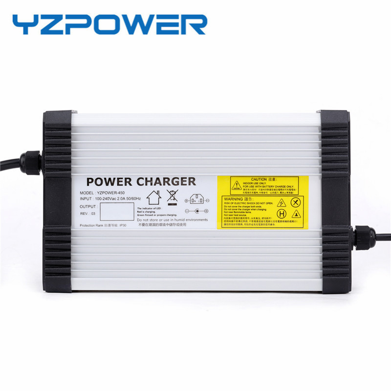 YZPOWER 42V 10A Lithium Battery Charger For 36V Electric Bike Scooter Aluminum Metal Case Fast Charger цена