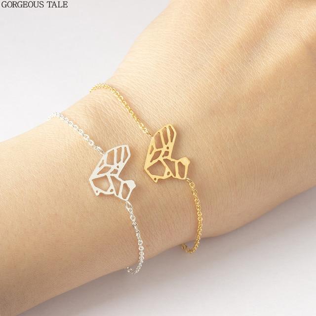 Acebfeet Handmade Origami Squirrel Bracelet For Women Bff Jewelry Gold Silver Chain Pulseira Cute Animal Tattoo