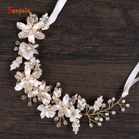 2018 New Crystal Flowers Leaves Brides Headband For Wedding Head Chain Hair Sash accessoires robe mariee T031