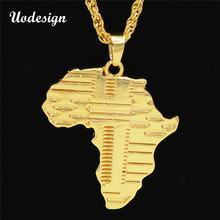 Uodesign бренд хип хоп Африка ожерелье золотой цвет кулон и