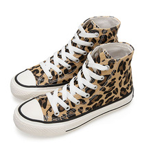 Moxxy Leopard Shoes Woman Print Flats Casual Shoes Woman Lace Up Golden Canvas Shoes Autumn trainers High Top Sneakers Women woman sneakers metallic color woman shoes front lace up woman casual shoes low top rivets embellished platform woman flats brand