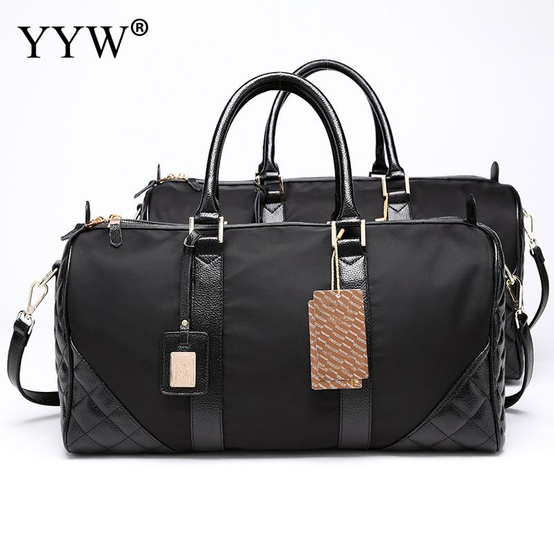 Large Capacity Black Tote Bag for Men Plaid PU Leather & Oxford Unisex Handbags Women Travel Bags Fashion Male Crossbody Bag aosbos fashion portable insulated canvas lunch bag thermal food picnic lunch bags for women kids men cooler lunch box bag tote