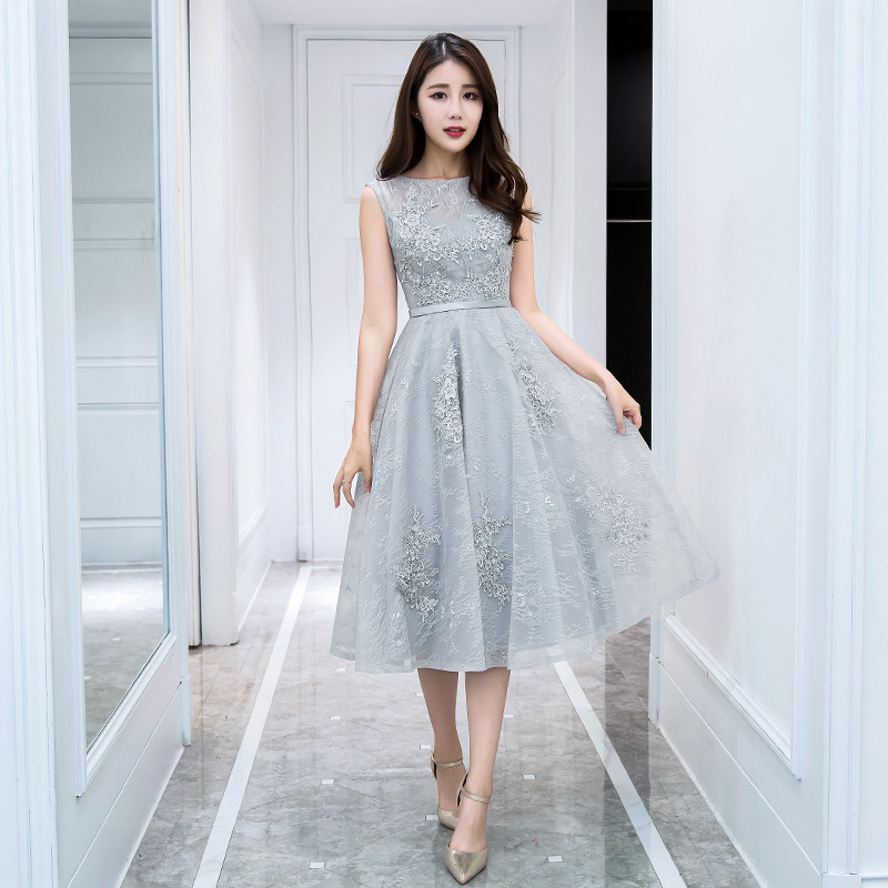 Evening     Dresses   2019 New Spring Banquet Party   Dress   Illusion O-neck Tea Length Appliques Silver Prom   Dress   Robe De Soiree
