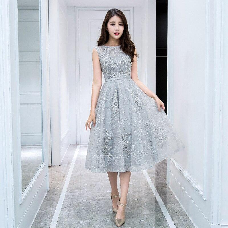 Evening Dresses 2019 New Spring Banquet Party Dress Illusion O-neck Tea Length Appliques Silver Prom Dress Robe De Soiree