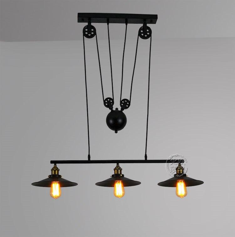 Loft vintage Fer Poulie pendentif lumières Bar Cuisine Accueil Décoration E27 Edison suspendus lumière lampe Luminaires