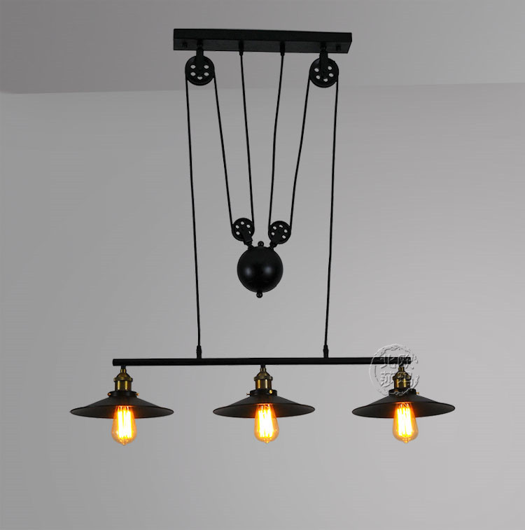 Loft vintage Iron Pulley pendant lights Bar Kitchen Home Decoration E27 Edison hanging light lamp Light Fixtures